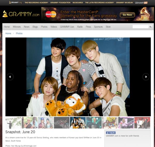 {NEWS} 120624 | SHINee et Donica Streling apparaissent sur le site Grammy.com ✰彡