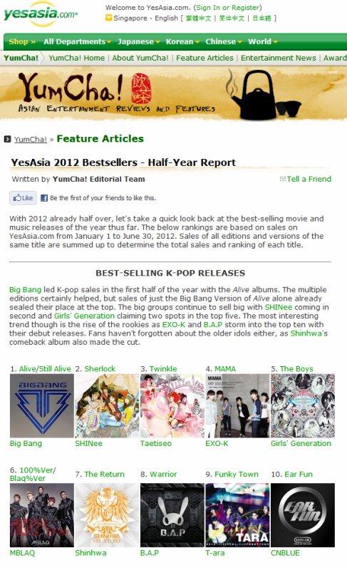 {CLASSEMENT} 120713 | Sherlock 2ème des meilleures ventes d'albums de la première moitié de l'année ✰彡