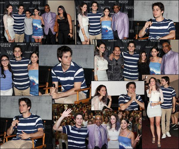 13/09/15  Dylan O'brien et sa co-star Kaya Scodelario étaient à une sorte de conférence de presse à Miami.  Cet événement était destiné aux fans des acteurs et de la trilogie Le Labyrinthe. Tenue décontractée pour Dylan, un top pour ma part.