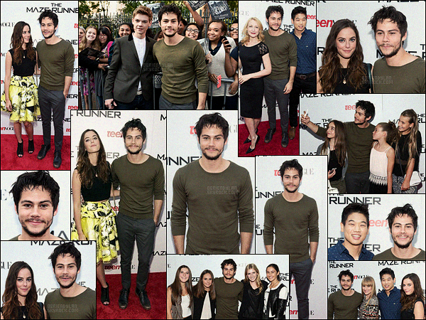 15/09/14 Dylan O'brien était à la projection du Labyrinthe par 20th Century Fox et Teen Vogue - New York. J'aime bien la tenue que Dylan portait, c'est un top pour ma part cependant il aurait du un peu retailler sa barbe, ça lui aurait mieux été.