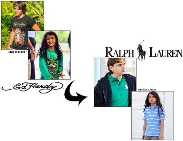05/2011 Jackson's boys style Prince et Blanket se sont offert une nouvelle garde robe, et plutôt que d'opter pour leur ancien magasin favoris : Ed Hardy,  ils se sont tournés vers la grande et populaire marque qu'est Ralph Lauren, un choix que je trouve particulièrement judicieu, j'adhère totalement ! Et toi tu preferes ? ( ARTICLE PAR JACKSONXBLANKET, NE PAS COPIER ).