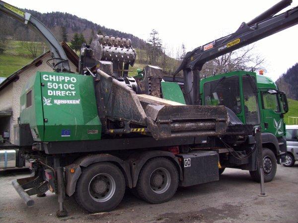 unité mobile de broyage de bois