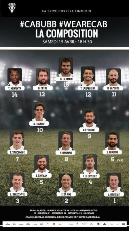 La composition du CA Brive face à Bordeaux !