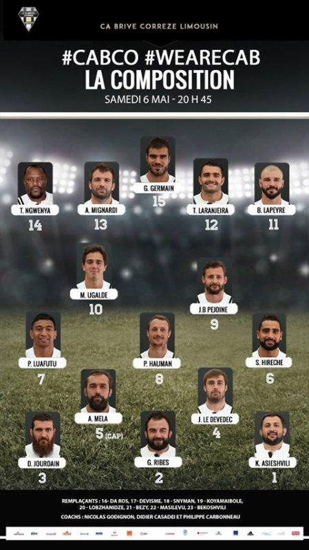 la composition entière de l'équipe qui va affronter Castres demain à 20h45 au Stadium !