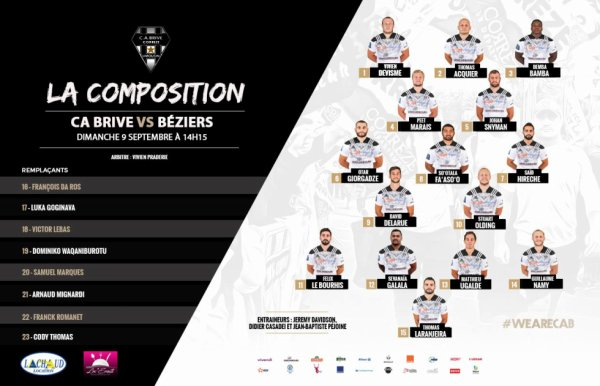La Composition du CA Brive face à Béziers !