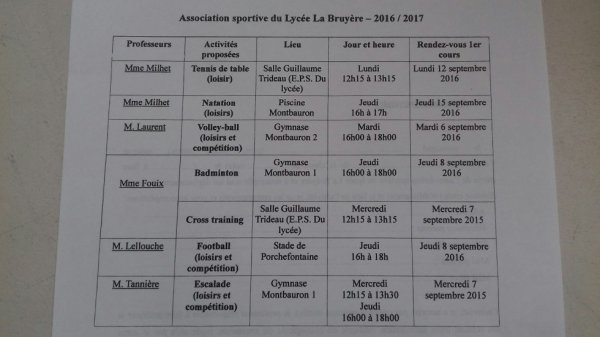 PROGRAMME AS 2016-2017