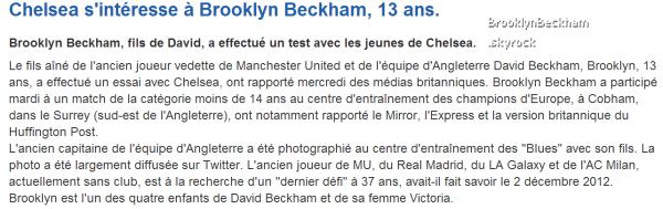 Le 23 Janvier 2013, Brooklyn a fait des essaies dans la catégorie moins de 14 ans à Chelsea.