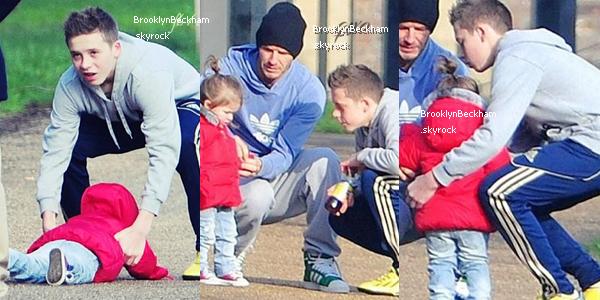 Ce matin, Lundi 18 Février 2013, David Beckham et ses enfants se sont rendu dans un parc ouest de Londres.