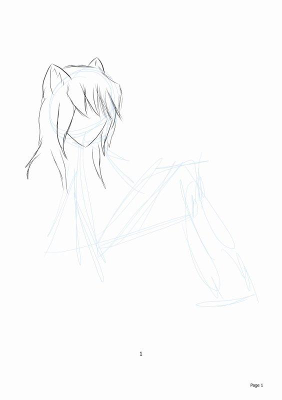le début d'un dessin une fille chat