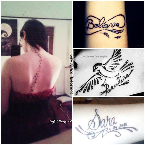 Article sur mes tatouages.  « Un tatouage est la reproduction d'une histoire, d'une blessure, d'un sentiment dont on veut se souvenir éternellement » ~ Amy Softpaws