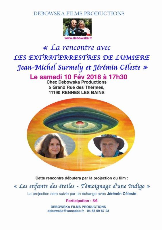 'La Rencontre avec les Extraterrestres de Lumière' Conférence Projection Rennes-les-Bains (11) 10 Février 2018