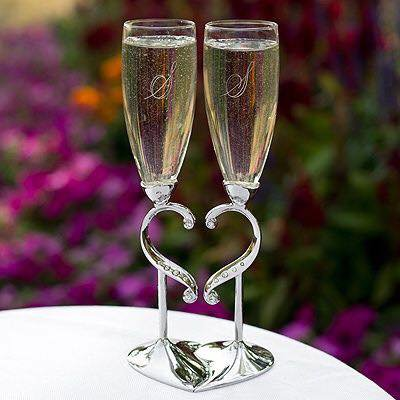Perles de verres de champagne en ivoire/blanc-coeur de diamants