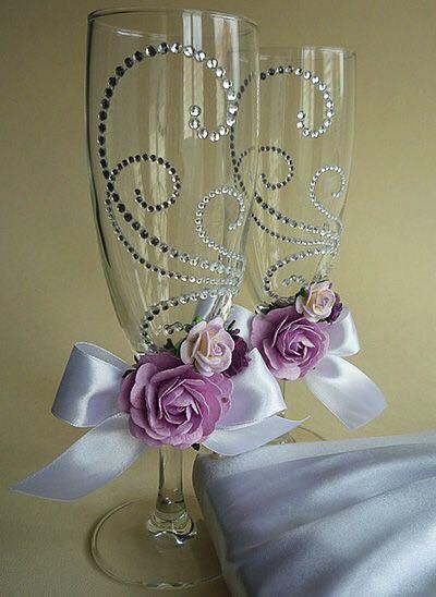 coupes à Champagne de mariage - mariage floral