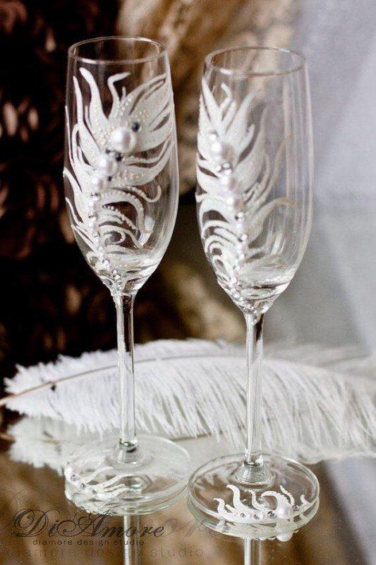 Ivoire mariage champagne verres-douce flûtes plumes blanche