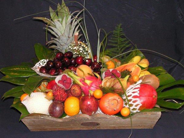 Une palette de fraîcheur riche en gôut. Un assortiment de fruits exotiques,