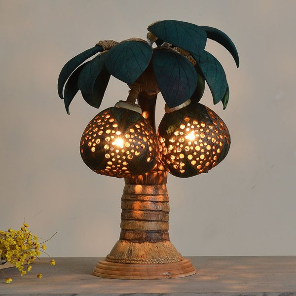 lampe de chevets avec la noix de coco