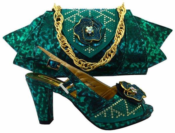 Nouvelle arrivée vert foncé dame Africaine partie ensemble chaussures assorties et sac à main