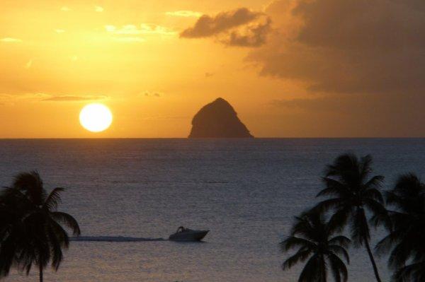 coucher de soleil sur le rochers de diamant