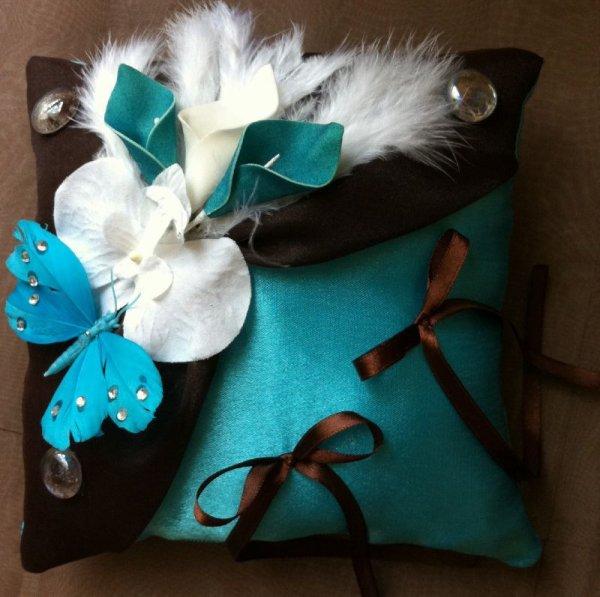 Coussin alliance mariage exotique, la mer, turquoise