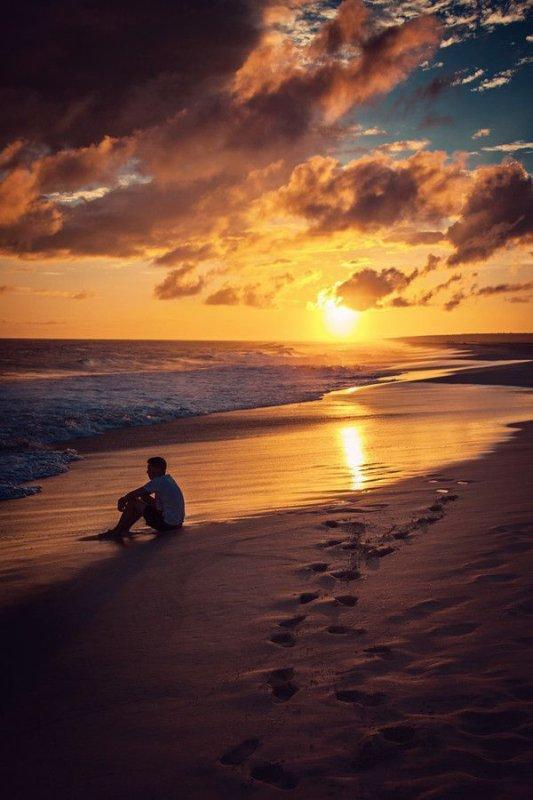 Coucher de soleil avec cocotier sur la plage tropicale