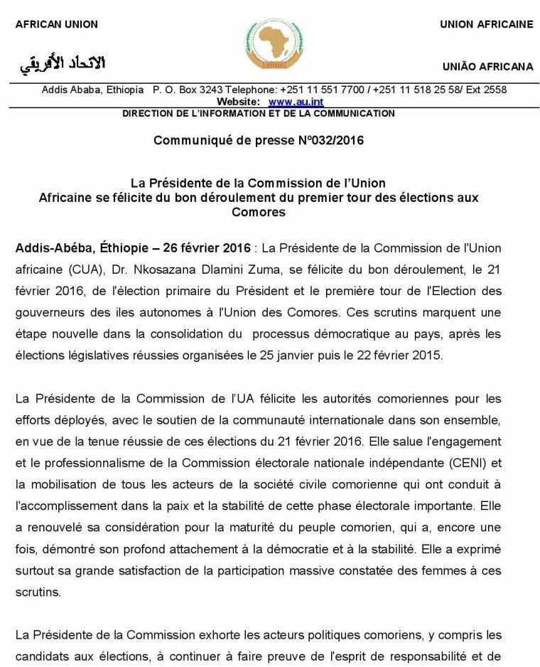 La Présidente de la Commission de l'Union  Africaine se félicite du bon déroulement du premier tour des élections aux  Comores