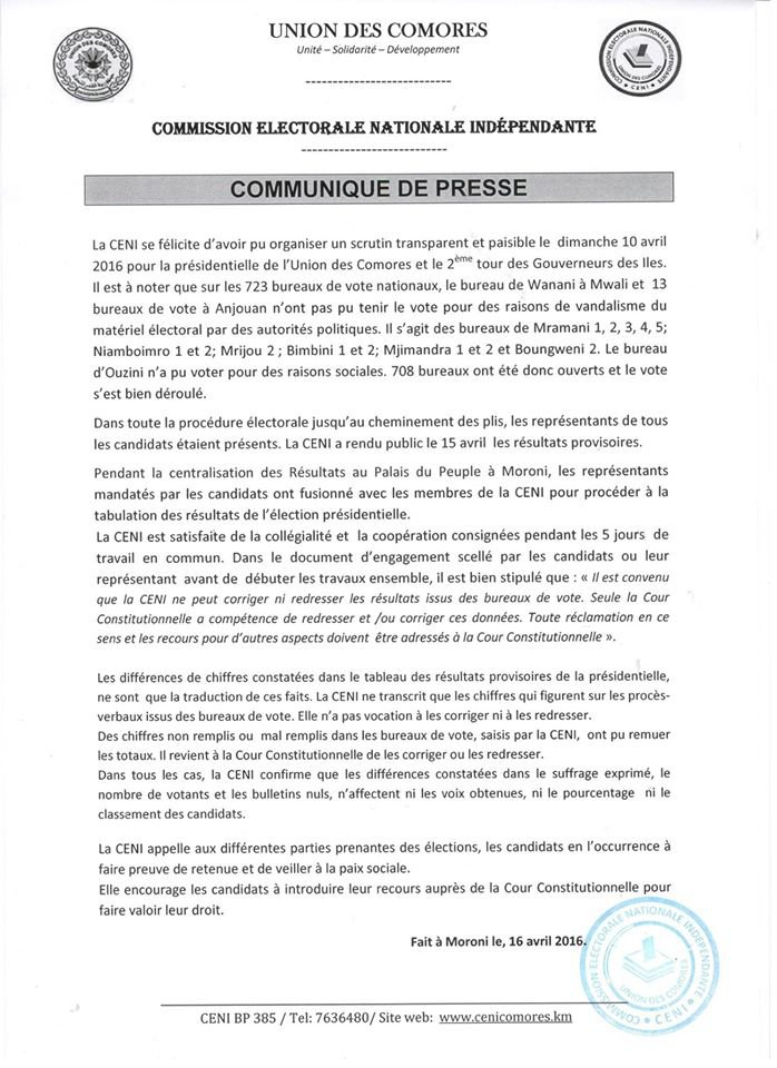 Communiqué de presse CENI Comores