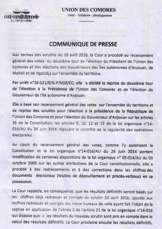 Communiqué de presse de la Cour Constitutionnelle