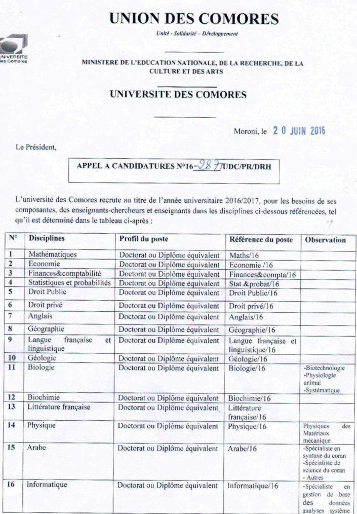 L'Université des Comores recrute des enseignants-chercheurs
