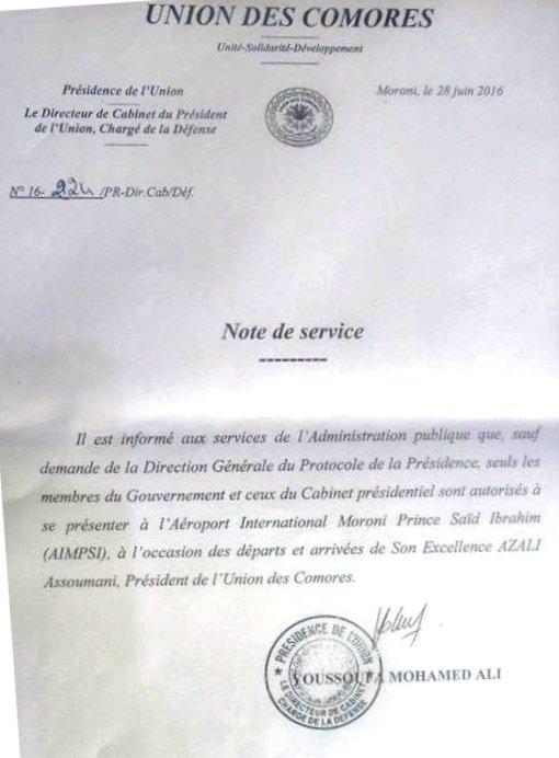 Arrivée du Président de la République : Une note interdit aux fonctionnaires de se rendre à l'aéroport
