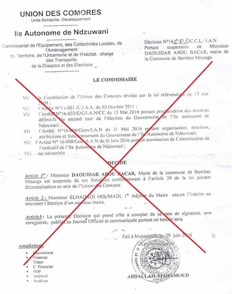 Ministère de l'intérieur : Nulle et de nul effet la Décision du Commissaire des Collectivités de suspendre le maire de Bambao Mtsanga