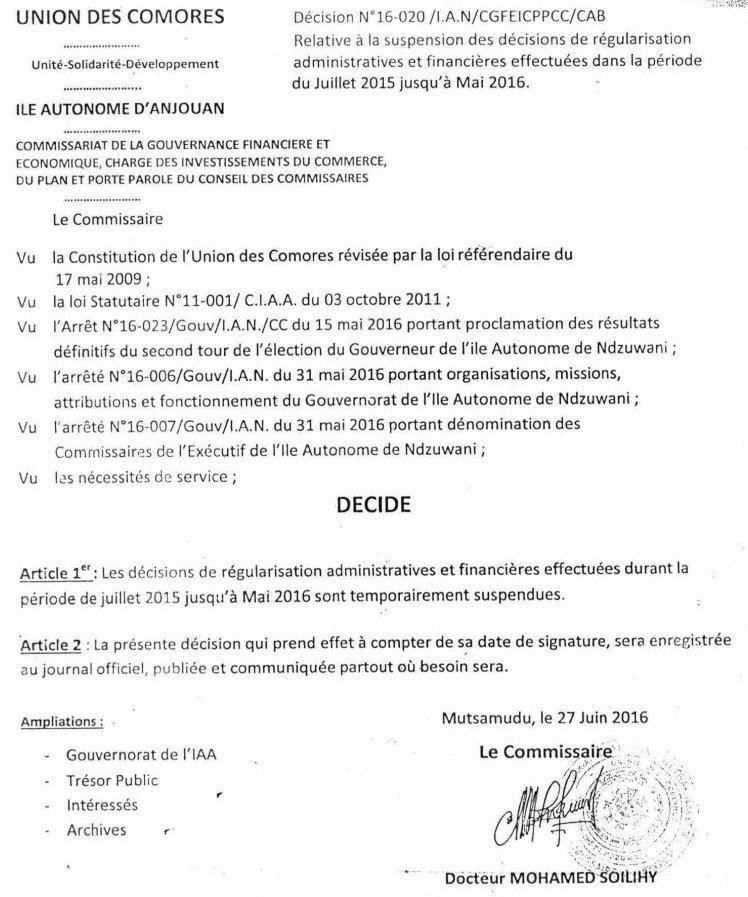 Invitation à une Conférence de presse  du Collectif des Fonctionnaires Anjouanais Suspendus (CFAS)