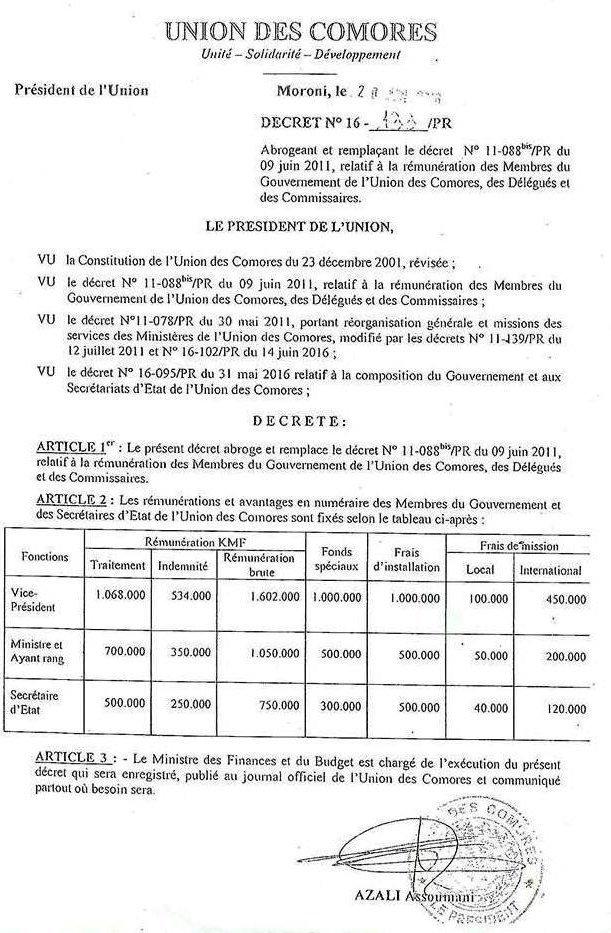 Décret relatif à la rémunération des membres du Gouvernement de l'Union des Comores