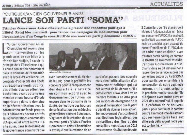 L'ancien gouverneur Anissi lance son parti « SOMA »