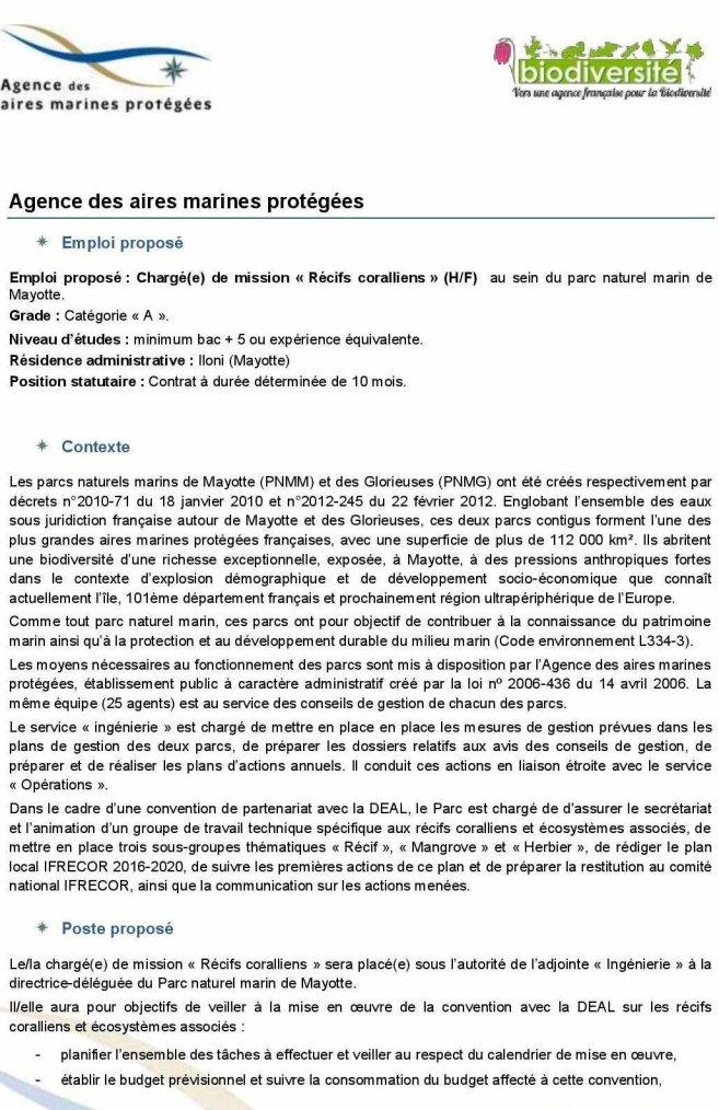 Appel d'offre : Chargé(e) de  mission  « Récifs  coralliens » au Parc Marin de Mayotte