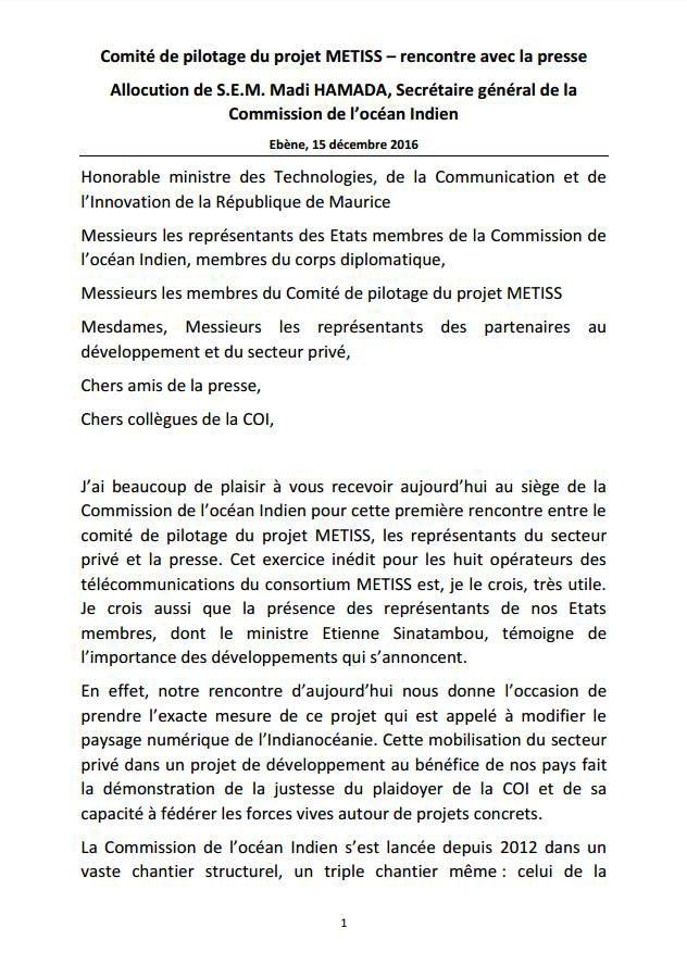 Discours de Hamada Madi Boléro, Secrétaire général de la COI, à l'occasion du lancement du projet METISS