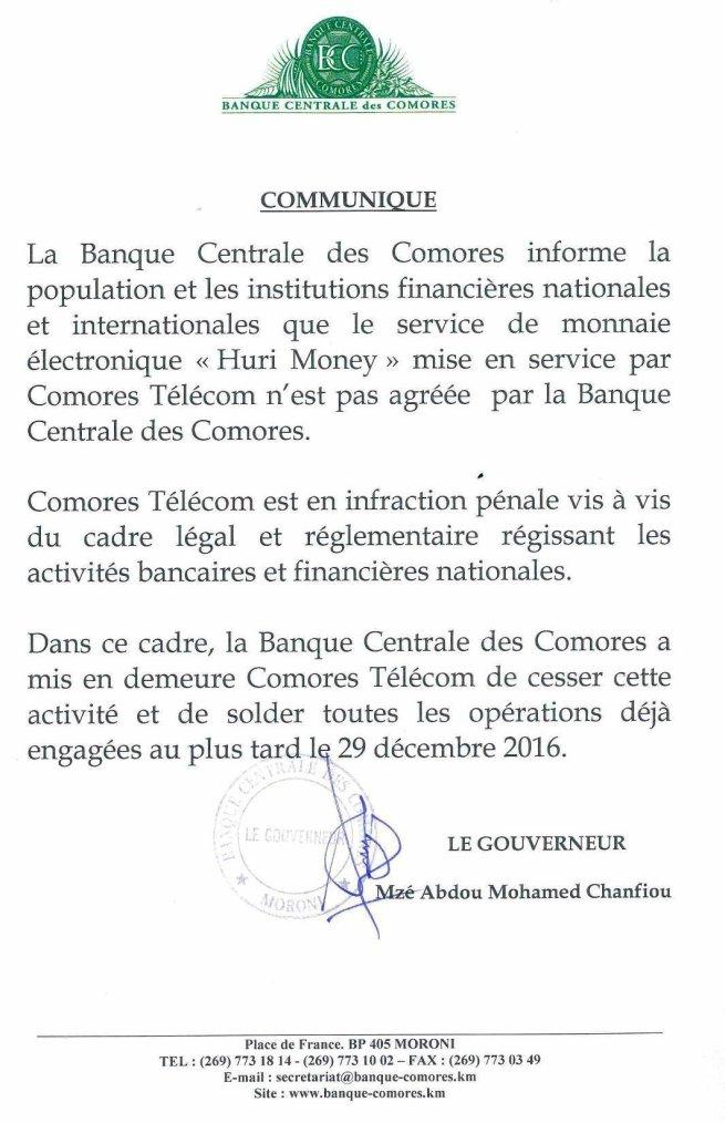 Encore, la Banque centrale contre le service monnaie électronique « Huri Money » de Comores Télécom