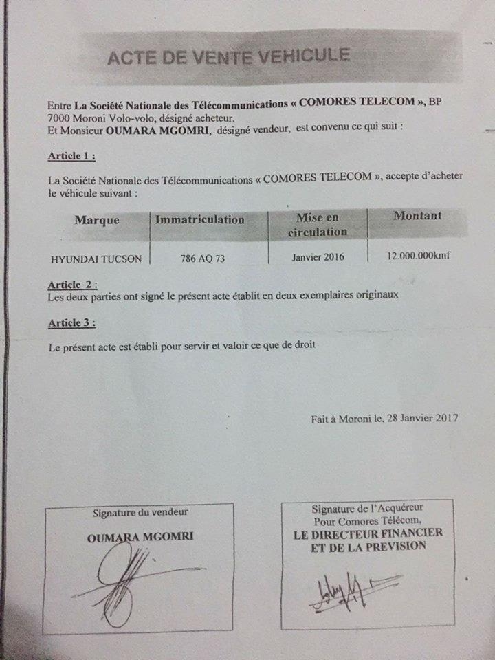 Scandale: Comores Telecom rachète à OUMARA Mgomri sa voiture pour 12.000.000kmf