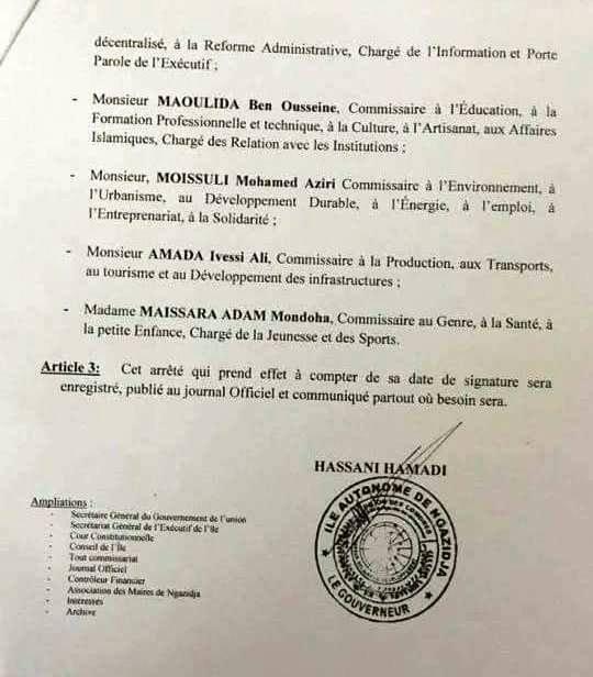 Le Chef de l'Exécutif de Ngazidja a remanié son gouvernement
