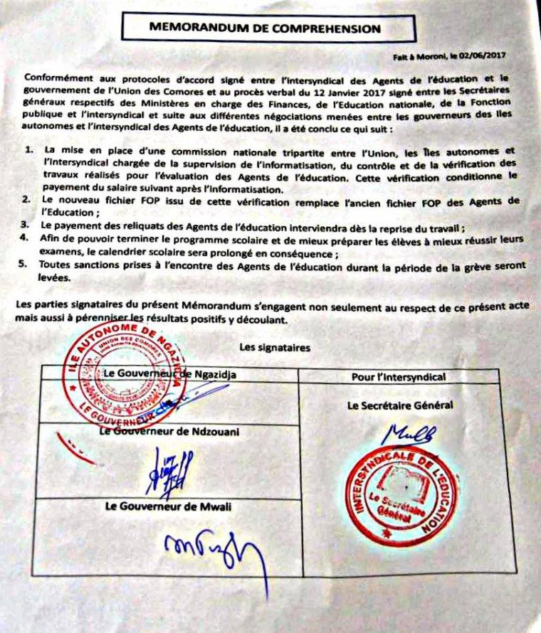 Education : signature d'un mémorandum entre les gouverneurs et l'intersyndical pour mettre fin à la grève