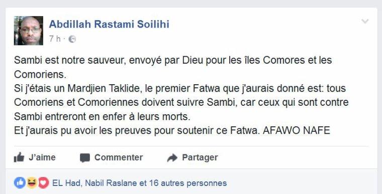 Selon le Chiite Abdillah, « ceux qui sont contre Sambi entreront en enfer à leurs morts ».