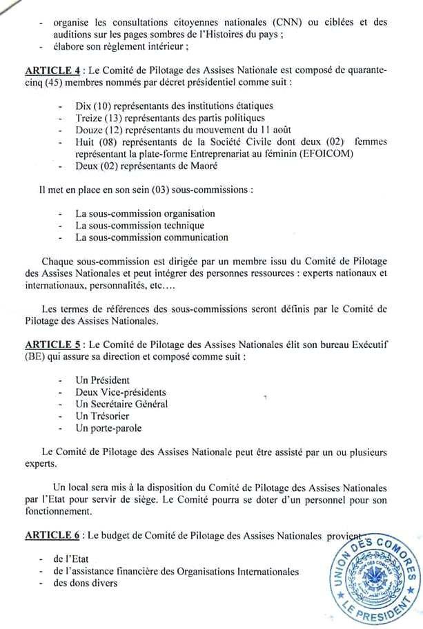 Le fameux décret portant création du comité de pilotage des assises nationale, enfin publié.