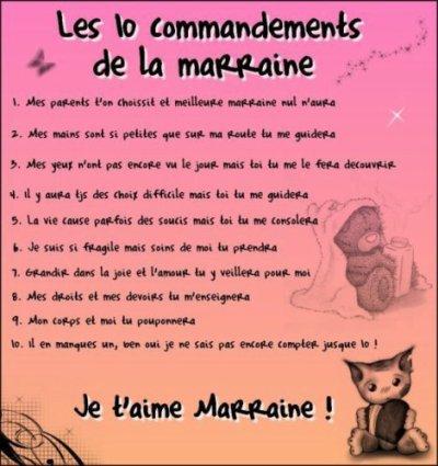 Bekannt LES 10 COMMANDEMENTS DE LA MARRAINE - mon paradis a moi!!!!!!!!!! XV31