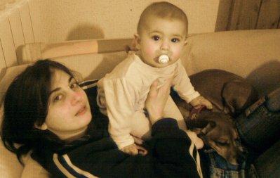Joëlle et Lucas et Poupette notre autre chiennes!!