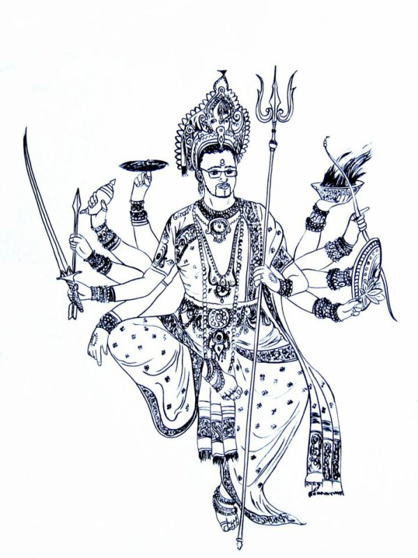 Fabuleux auto-portrait Dieu Indien - des dessins perso IZ79