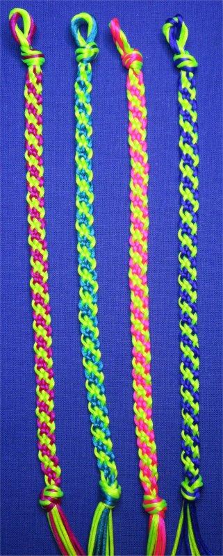 Kumihimo : bracelets plats à rayures obliques 8 à 11