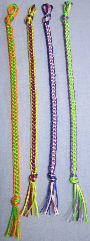 Kumihimo : bracelets plats chainettes 1 à 4