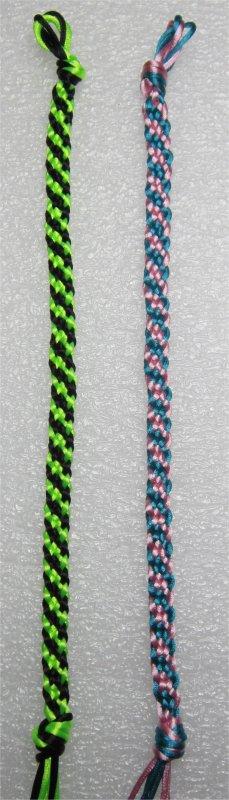 Kumihimo : bracelets plats à rayures obliques 37 et 38