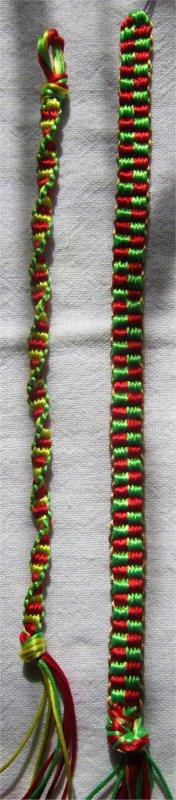 Kumihimo : bracelets plats Vigne et Damier
