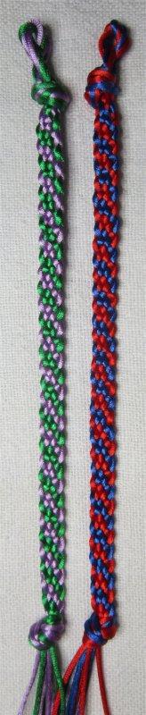 Kumihimo : bracelets plats à rayures obliques 39 et 40