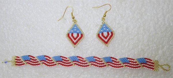 Perles : boucles d'oreilles 4 juillet